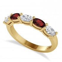 Oval Diamond & Garnet Five Stone Ring 14k Yellow Gold (1.25ct)