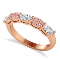 Oval Diamond & Morganite Five Stone Ring 14k Rose Gold (1.25ct)