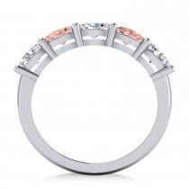 Oval Diamond & Morganite Five Stone Ring 14k White Gold (1.25ct)|escape