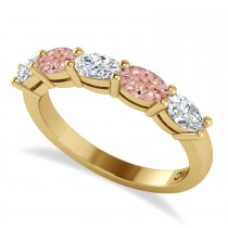 Oval Diamond & Morganite Five Stone Ring 14k Yellow Gold (1.25ct)