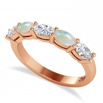 Oval Diamond & Opal Five Stone Ring 14k Rose Gold (1.25ct)