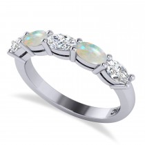 Oval Diamond & Opal Five Stone Ring 14k White Gold (1.25ct)