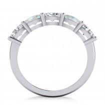 Oval Diamond & Opal Five Stone Ring 14k White Gold (1.25ct)