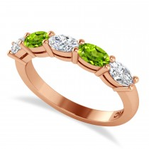 Oval Diamond & Peridot Five Stone Ring 14k Rose Gold (1.25ct)