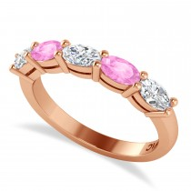Oval Diamond & Pink Sapphire Five Stone Ring 14k Rose Gold (1.25ct)