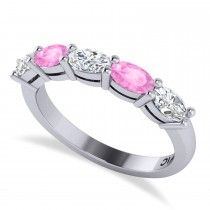 Oval Diamond & Pink Sapphire Five Stone Ring 14k White Gold (1.25ct)