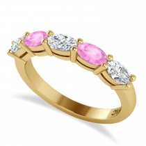 Oval Diamond & Pink Sapphire Five Stone Ring 14k Yellow Gold (1.25ct)