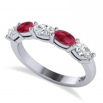 Oval Diamond & Ruby Five Stone Ring 14k White Gold (1.25ct)