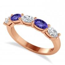 Oval Diamond & Tanzanite Five Stone Ring 14k Rose Gold (1.25ct)