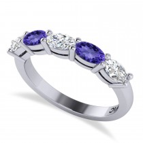 Oval Diamond & Tanzanite Five Stone Ring 14k White Gold (1.25ct)