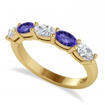 Oval Diamond & Tanzanite Five Stone Ring 14k Yellow Gold (1.25ct)