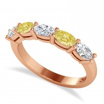Oval Yellow & White Diamond Five Stone Ring 14k Rose Gold (1.25ct)