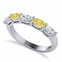 Oval Yellow & White Diamond Five Stone Ring 14k White Gold (1.25ct)