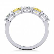 Oval Yellow & White Diamond Five Stone Ring 14k White Gold (1.25ct)|escape