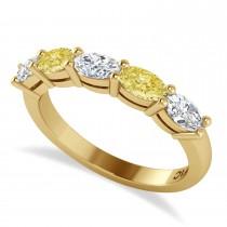 Oval Yellow & White Diamond Five Stone Ring 14k Yellow Gold (1.25ct)