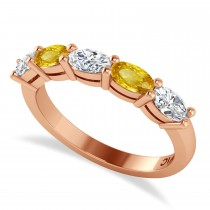 Oval Diamond & Yellow Sapphire Five Stone Ring 14k Rose Gold (1.25ct)