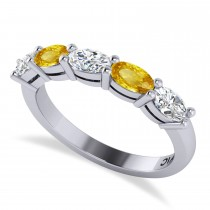 Oval Diamond & Yellow Sapphire Five Stone Ring 14k White Gold (1.25ct)