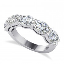 Oval Diamond Five Stone Wedding Band 14k White Gold (5.00ct)