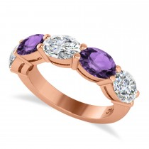 Oval Diamond & Amethyst Five Stone Ring 14k Rose Gold (4.70ct)