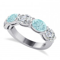 Oval Diamond & Aquamarine Five Stone Ring 14k White Gold (4.50ct)