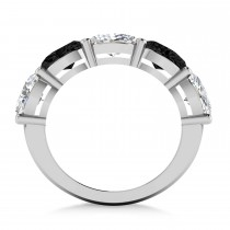 Oval Black & White Diamond Five Stone Ring 14k White Gold (5.00ct)