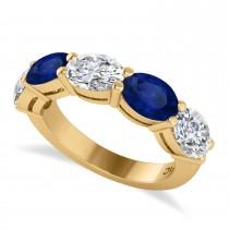 Oval Diamond & Blue Sapphire Five Stone Ring 14k Yellow Gold (5.00ct)