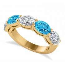 Oval Diamond & Blue Topaz Five Stone Ring 14k Yellow Gold (5.20ct)
