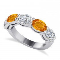 Oval Diamond & Citrine Five Stone Ring 14k White Gold (4.70ct)