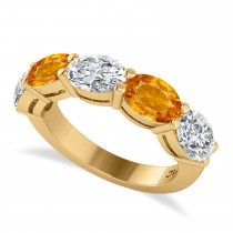 Oval Diamond & Citrine Five Stone Ring 14k Yellow Gold (4.70ct)