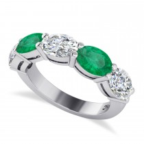 Oval Diamond & Emerald Five Stone Ring 14k White Gold (4.70ct)