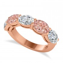 Oval Diamond & Morganite Five Stone Ring 14k Rose Gold (5.20ct)