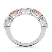 Oval Diamond & Morganite Five Stone Ring 14k White Gold (5.20ct)