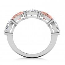 Oval Diamond & Morganite Five Stone Ring 14k White Gold (5.20ct)|escape