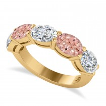 Oval Diamond & Morganite Five Stone Ring 14k Yellow Gold (5.20ct)