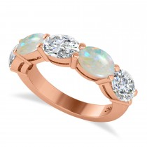 Oval Diamond & Opal Five Stone Ring 14k Rose Gold (4.00ct)