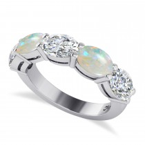 Oval Diamond & Opal Five Stone Ring 14k White Gold (4.00ct)
