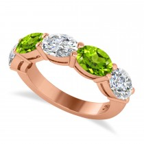 Oval Diamond & Peridot Five Stone Ring 14k Rose Gold (4.90ct)