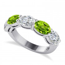 Oval Diamond & Peridot Five Stone Ring 14k White Gold (4.90ct)