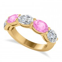 Oval Diamond & Pink Sapphire Five Stone Ring 14k Yellow Gold (5.00ct)