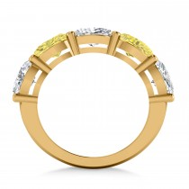 Oval Yellow & White Diamond Five Stone Ring 14k Yellow Gold (5.00ct)