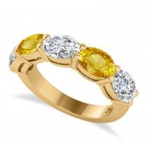 Oval Diamond & Yellow Sapphire Five Stone Ring 14k Yellow Gold (5.00ct)