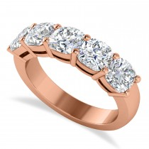 Cushion Diamond Five Stone Ring 14k Rose Gold (2.50ct)