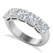 Cushion Diamond Five Stone Ring 14k White Gold (2.50ct)
