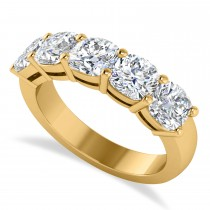 Cushion Diamond Five Stone Ring 14k Yellow Gold (2.50ct)