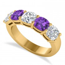 Cushion Diamond & Amethyst Five Stone Ring 14k Yellow Gold (2.70ct)