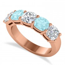 Cushion Diamond & Aquamarine Five Stone Ring 14k Rose Gold (2.70ct)