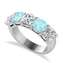 Cushion Diamond & Aquamarine Five Stone Ring 14k White Gold (2.70ct)