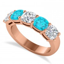 Cushion Blue & White Diamond Five Stone Ring 14k Rose Gold (2.50ct)