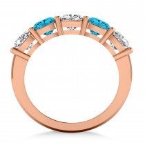 Cushion Blue & White Diamond Five Stone Ring 14k Rose Gold (2.50ct)|escape