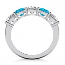Cushion Blue & White Diamond Five Stone Ring 14k White Gold (2.50ct)